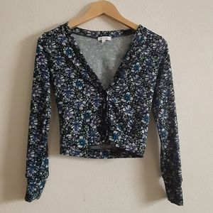 XS Delia's cropped black floral cardigan